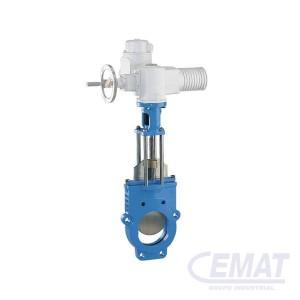Válvula de guillotina con adaptador para actuador para aguas residuales