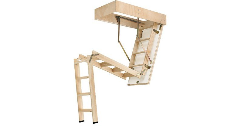 Escalera escamoteable madera cadet 3 iso cemat gijon for Escaleras de madera para pintor precios