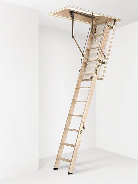 escalera escamoteable madera cadet 3 iso colocada