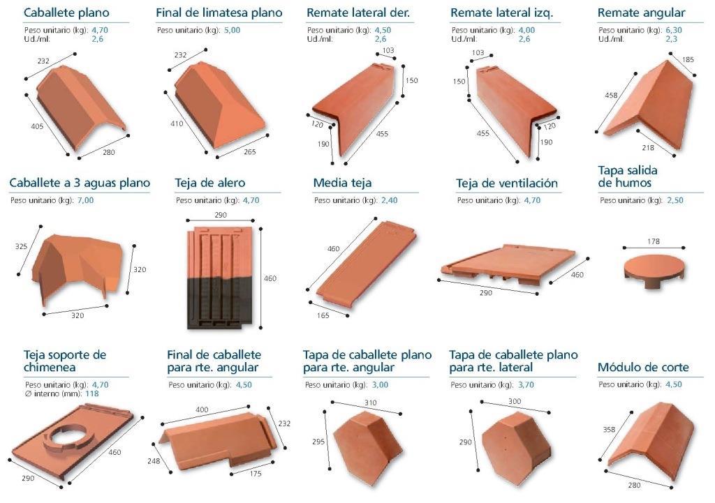 piezas especiales teja ceramica logica plana