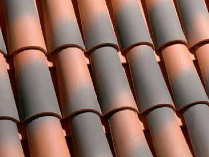 teja ceramica curva collado rojo flameado