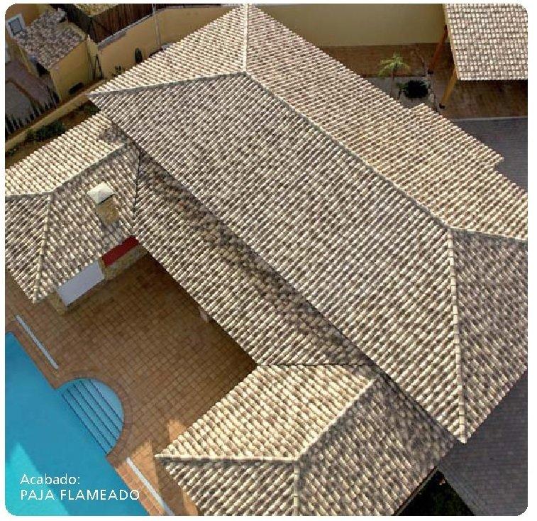 tejado con teja ceramica curva collado paja flameado