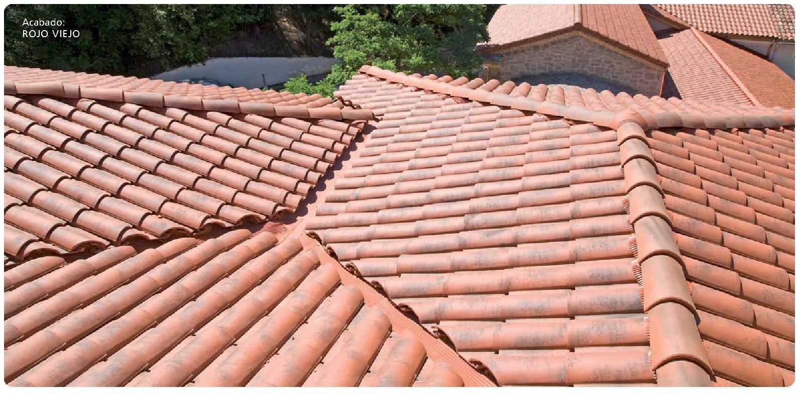 tejado con teja klinker k2 rojo viejo