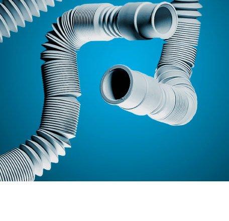 Manguera descarga lavadora extensible Tubo coarrugado extensible de PP con terminales de conexión en los extremos