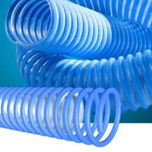 Manguera piscinas TRANSFLOT E.A. Tubería transparente y espiral azúl, muy flexible, fabricada en EVA (etil-vinilo-acetato) y refuerzo helicoidal en PEAD (polietileno de alta densidad)