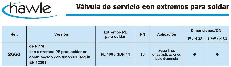 valvula de servicio extremos soldar pom 2660 croquis