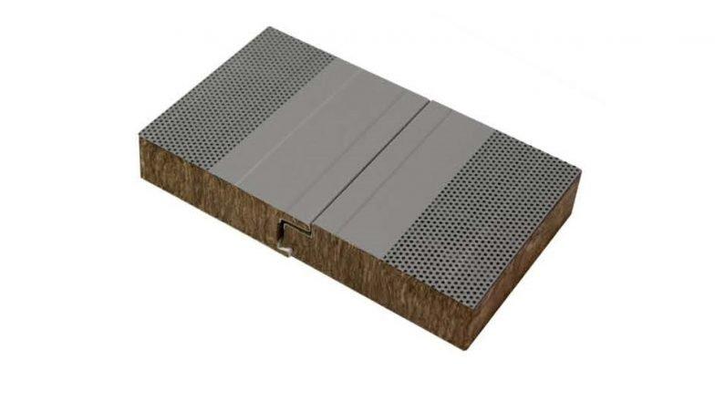 Panel chapa sandwich fachada lana de roca fonoabsorvente for Aislamiento lana de roca